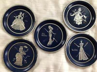 5  Vintage Women Over The Years  Tin Coasters Ash Trays. Gay Nineties