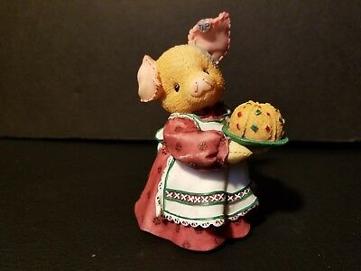 "1997 TLP~ This Little Piggy "" You Take The Cake"" girl holding cake/wearing apron"