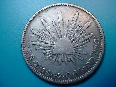 Mexico~ Silver 1847 Zs OM 4-Reales in Very Nice Condition!