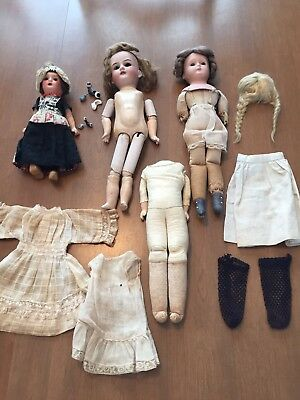 Antique Victorian Dolls And Parts TLC Lot-Bisque Heads, Bodies,Wigs
