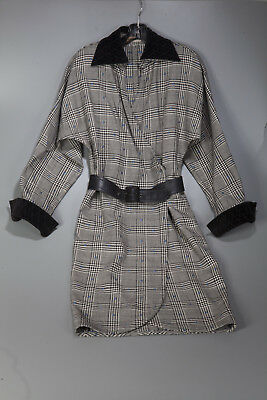 Vintage Early 1980s Gianni Versace Houndstooth Belted Dress with Velvet Size 4/6