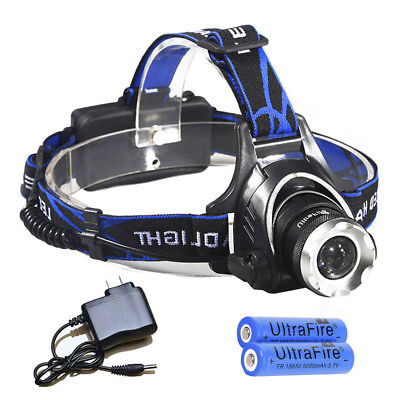 Tactical Zoomable 18650 T6 LED 90000LM 3Modes Military Headlight Torch +Charger