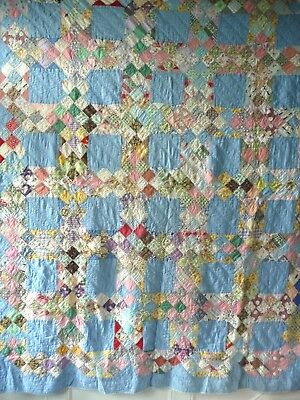 Vintage 20s-30s Hand Made QUILT  ~  Light Blue w/ Patchwork Sashings  ~  CHARM!!