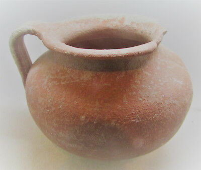 Scarce Ancient Mycenaean Terracotta Wine Vessel With Handle 1600-1000Bce Greece