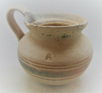 Scarce Ancient Mycenaean Terracotta Painted Wine Vessel With Handle 1600-1000Bce