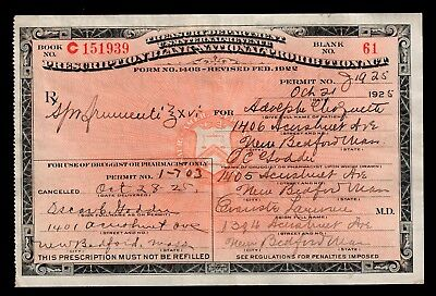 1925 Prohibition Prescription Antique Whiskey Pharmacy Doctor Bar New Bedford MA