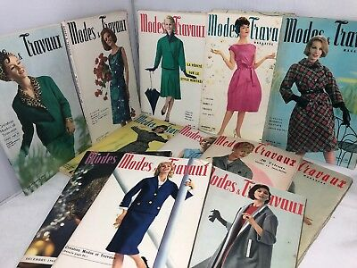 Vintage Lot Of 12 1960's French Fashion Magazines Modes Travaux Fantastic