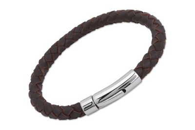 0e836a2efb85f Unique   Co. Men s 21cm Dark Brown Leather Bracelet with Stainless Steel  Clasp