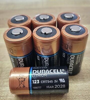 7 x Duracell DL123A Lithium CR123A Batteries (New, no packaging)