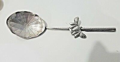 Antique European Sterling  Silver  Rare Pattern Vine Leaf  Spoon Lovely