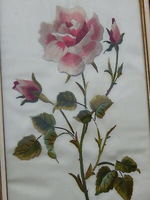 Vintage Embroidered Needlepoint Hand Sewn Roses & Buds Flowers Framed Picture
