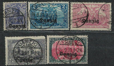 Poland Fischer Ii # 4,11 -12 15  Free City Of Gdansk ( Danzig ) Lot Of 5 Used St