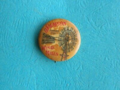 Antique Samson Windmills Celluloid Advertising Pinback Button