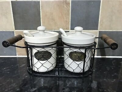 Jam & Honey Pots With Basket Lids And Spoons