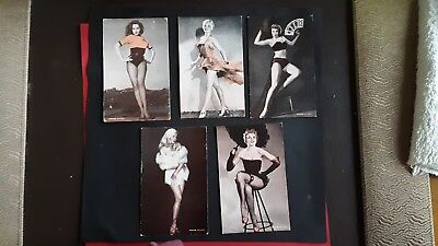 RISQUE PIN UP Arcade Cards c 40/50s  (5) Lili st Cyr, Julie Newmar,  and others.