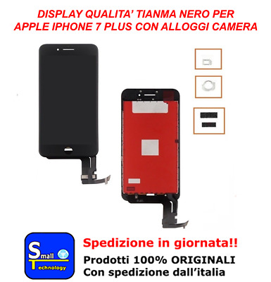 Display Lcd Touch Screen Nero Apple Iphone 7 Plus Tianma Vetro Schermo Nero