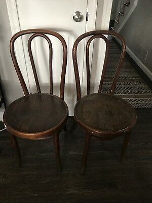 Set 2 Antique Bentwood Ice Cream Parlor Chairs Bistro Cafe Mundus Made In Poland