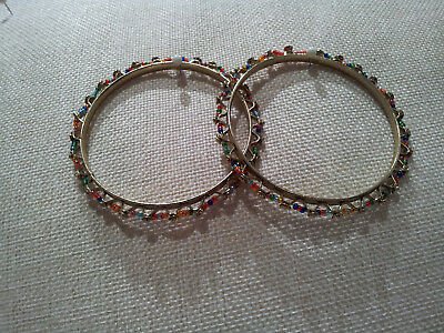 Vintage & Costume Jewellery  Pair of Matching Coloured Bangles