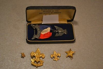 Vintage Boy Scouts of America Eagle Scout Badge plus 4 Lapel Pins with 2 stars