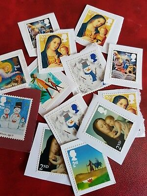 50 Unfranked mixed 2nd class Christmas stamps on paper