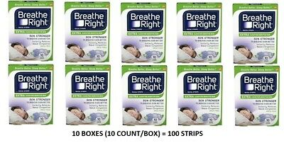 BRAND NEW 100 BREATHE RIGHT NASAL STRIPS, EXTRA CLEAR ( 10 x 10 COUNT BOXES)