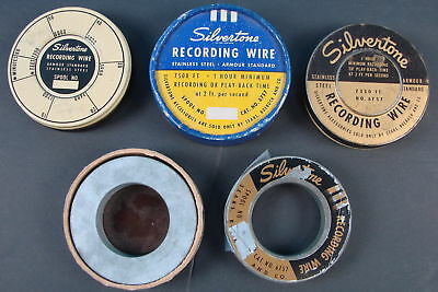 Lot of 5 Vtg Silvertone Armour Standard Stainless Steel Recording Wire Reels