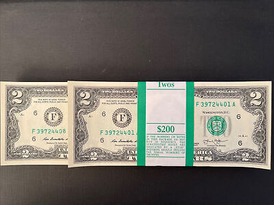 OneStack of TWO DOLLAR $2 Notes CRISP UNCIRCULATED from BEP PACK out of BRICK