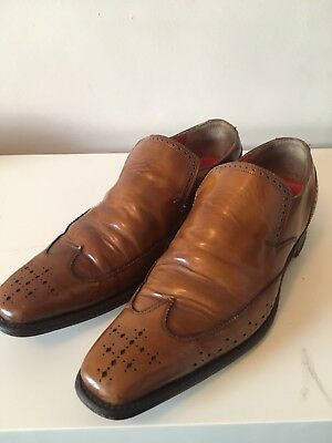 Jeffery West Dashwood Tan Loafers Shoes Smart Punched Detailing Size 8