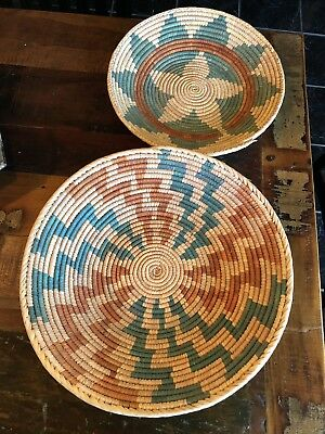 "Vintage Native American Hand Woven Wedding Baskets ""set Of 2"""