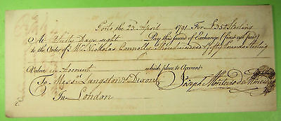 1791 Bill of Exchange Porto to London for 350 pounds Sterling.