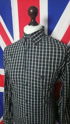 Fred Perry Button Down Tartan Shirt - XXL - Green/Red/White - Mod Casuals 60's