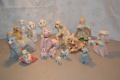 Mixed Lot of Vintage and New Poodle Figurines Japan Avon S/P Pink Spaghetti