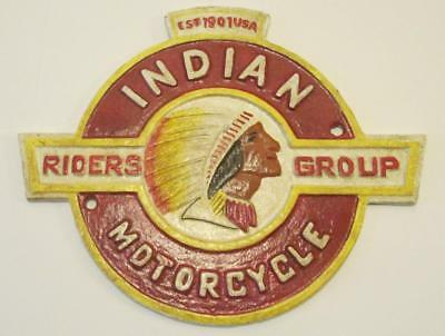 INDIAN MOTORCYCLE RIDERS GROUP Est.1901 USA Cast Iron Sign