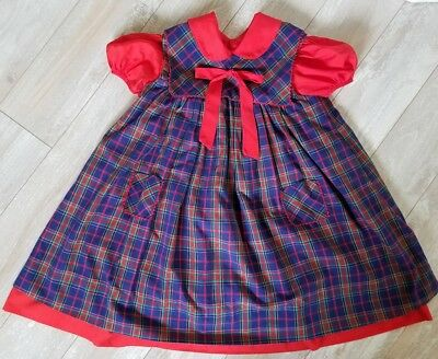 628955cf3 Vintage Saks Fifth Avenue size 6 little girls dress red plaid apron Xmas  holiday