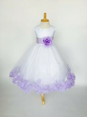 White Tulle Lilac Rose Petal Dress ALL SIZES Flower Girl Recital Party Fall #24