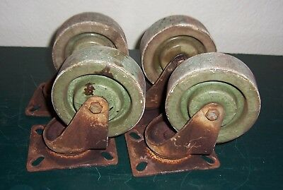 Antique Industrial Cast Iron Casters- Green Porcelain? Granite? Wheels-Steampunk