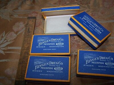 Vintage Pharmacy Drug Store 5 Pill Box Lot Bingen WA Pictures Mountains NOS