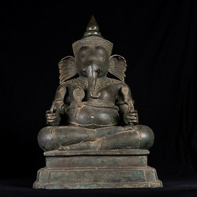 19th Century Thai Style Bronze Seated Ganesha Statue - 67cm/27""