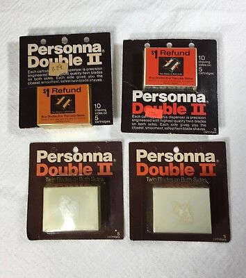 Lot of 4 Vintage NOS Personna Double II Twin Blade Cartridge Packages