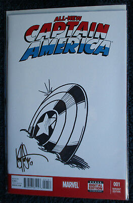 ALL-NEW CAPTAIN AMERICA #1 ~ Signed & REMARKED Sketch by Ken Haeser w/COA~RARE