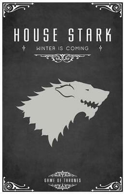 Poster Il Trono Di Spade Game Of Thrones Coat Of Arms Casa House Stark #36