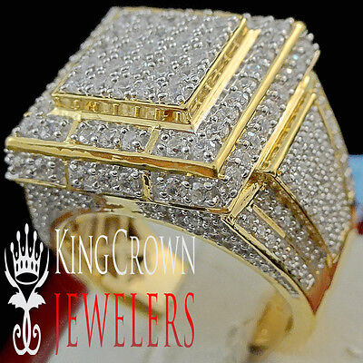 Real 10K Yellow Gold Sterling Silver Big Look Lab Diamond Mens Pinky Ring Band