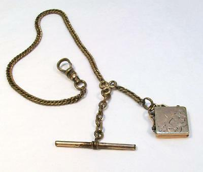 ANTIQUE Art Deco GOLD FILLED Pocket Watch Chain Ornate Locket Fob Dated 1904