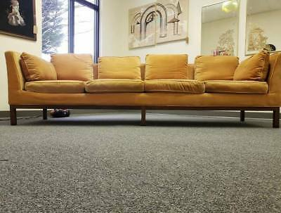 Mid-Century Vintage Milo Baughman for Thayer Coggin Orange Velvet Sofa Couch