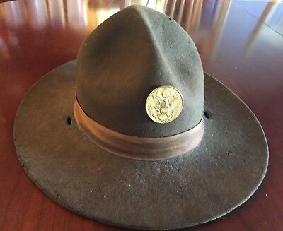 1920s US Army M1911 Campaign Hat with M1924 Gilted EM Disk * Montana Peak Hat