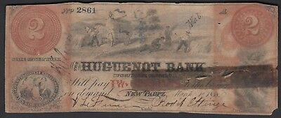 1858 $2 The Huguenot Bank of New Paltz, New York NY Obsolete