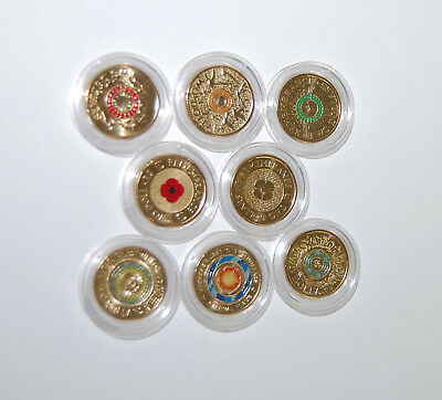 8 $2 ANZAC coins 2012 to 2018  Red,Gold poppy,Eternal flame ,Remembrance UNC