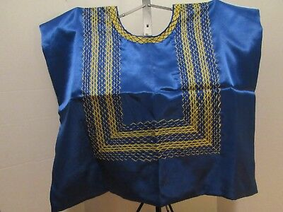 Frida Khalo Style Blue Silk and yellow Huipil from Oaxaca, Mexico