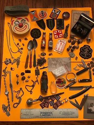 Vintage Junk Drawer Lot Watches Pocket Knives Military Advertising Sterling .925