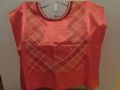 Price Reduced! - Frida Khalo Style Red silk an yellow Huipil from Oaxaca, Mexico